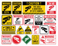 Video surveillance signs. CCTV. Closed Circuit Television Signs. Vector illustration Stock Image