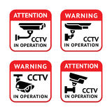Video surveillance signs set. Warning set Sticker for Security Alarm CCTV Camera Surveillance Royalty Free Stock Photo
