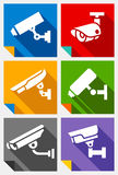 Video surveillance, stickers set Royalty Free Stock Photography