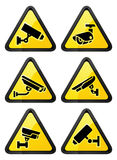 Video surveillance symbol, triangular shape Royalty Free Stock Photos