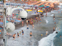 Video surveillance system on the beach Stock Photo