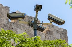 Video surveillance system. Cameras or the CCTV in Jerusalem, Israel royalty free stock photo