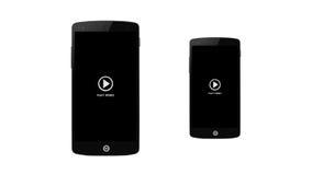 Video symbol för lek på den smarta telefonskärmen Arkivbilder