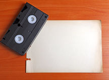 Video Tape on the Board. Retro Video Tape on the Board with Space for Text Royalty Free Stock Photo