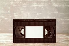Video tape cassette with blank label Royalty Free Stock Photos