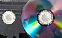 Video-tape and dvd. Isolated video-tape and dvd stock image