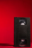 Video tape on a red background Royalty Free Stock Image