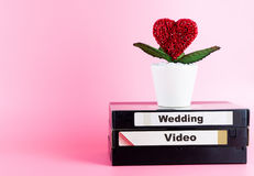 Video Tape for Wedding Video with love flower. And pink copy space Stock Photo