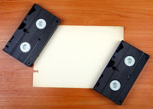 Video Tapes on the Board. Retro Video Tapes on the Board with Space for Text Royalty Free Stock Photos
