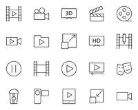 Video thin line icons set. Vector pictograms Royalty Free Stock Images