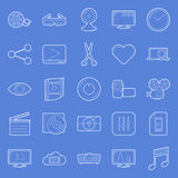 Video thin lines icons set Stock Photo