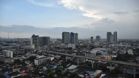 video time lapse city and sky train, Bangkok,Thailand: Sky train traffic and building stock video