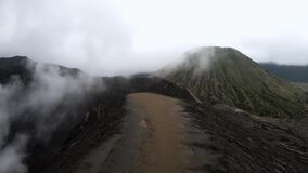 Video timelapse of the steaming active volcano Bromo