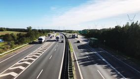 View from overpass at E20 in Denmark stock video footage