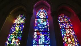 Triple Stained Glass Window and Choir Singing