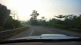 Video Tropical jungle with morning mist. fun Driving car in foggy road trip pov. Tropical jungle with morning mist. fun Driving car in foggy road trip pov stock footage