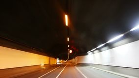 Tunnel drive lights stock video footage