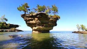 Video of Turnip Rock in Port Austin Michigan stock footage