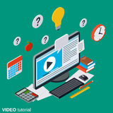 Video tutorial, e-learning, online education, user guide vector concept Royalty Free Stock Image