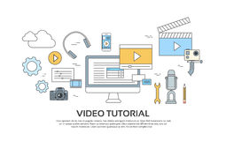 Video Tutorial Editor Concept Modern Technology  Set Icons Stock Image