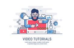 Video tutorial flat vector illustration Stock Image