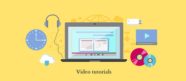 Video tutorial icon flat design style Royalty Free Stock Image