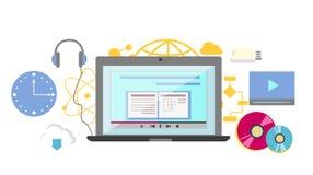 Video tutorial icon flat design style Royalty Free Stock Photo