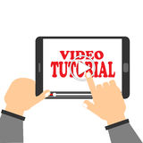 Video tutorial. Illustration with text 'video tutorial' in red uppercase letters on ipad screen with hands of a user pressing the start to play button on a touch royalty free illustration