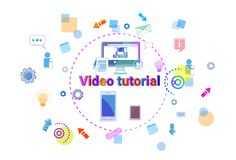 Video Tutorial Learn Online Banner Internet Education Elearning Concept Stock Images