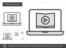 Video tutorial line icon. Video tutorial vector line icon isolated on white background. Video tutorial line icon for infographic, website or app. Scalable icon Royalty Free Stock Photos