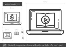 Video tutorial line icon. Video tutorial vector line icon isolated on white background. Video tutorial line icon for infographic, website or app. Scalable icon Stock Photo