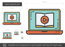 Video tutorial line icon. Video tutorial vector line icon isolated on white background. Video tutorial line icon for infographic, website or app. Scalable icon Royalty Free Stock Images