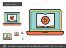 Video tutorial line icon. Video tutorial vector line icon isolated on white background. Video tutorial line icon for infographic, website or app. Scalable icon Royalty Free Stock Photo