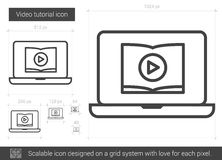 Video tutorial line icon. Video tutorial vector line icon isolated on white background. Video tutorial line icon for infographic, website or app. Scalable icon Royalty Free Stock Photography