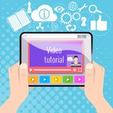 Video tutorial, video lesson, study on the tablet Royalty Free Stock Photos