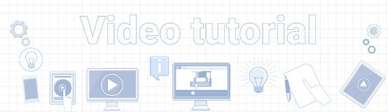 Video Tutorial Word On Squared Background Horizontal Banner Online Education Concept Stock Images