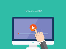 Video tutorials concept flat icon.  Royalty Free Stock Photos