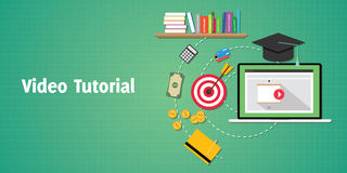 Video tutorials concept with laptop play and goals vector graphic. Video tutorials concept with laptop video play and goals vector graphic illustration Royalty Free Stock Photos