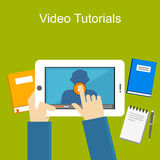 Video tutorials illustration. Video tutorials with gadget illustration Royalty Free Stock Photos