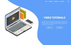 Video tutorials isometric banner. Online video computer web app. Isometric laptop with online video playing on screen and phone. Online education and studying vector illustration