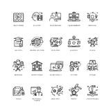 Video tutorials, training courses, online education vector line icons set Royalty Free Stock Images