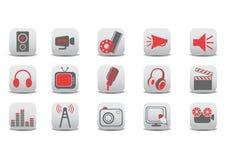Video und Audioikonen Lizenzfreies Stockfoto