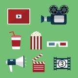 Video- und Filmikonen eingestellt Lizenzfreies Stockbild