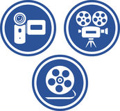 Video- und Filmkameras - vektorikonen Lizenzfreies Stockfoto