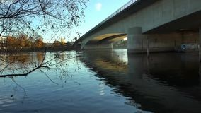 Video under the bridge on the River Rhine. Germany. Video under the bridge on the River Rhine stock footage