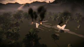 Video van een verpletterd vliegtuig in het hout stock illustratie