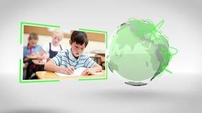 Video van school naast een hoffelijkheid van het Aardebeeld van NASA org stock video