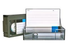 Video vassoio di VHS con il caso Immagine Stock Libera da Diritti
