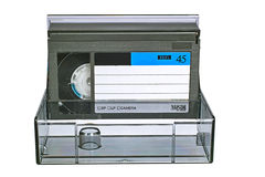 Video vassoio di VHS con il caso Fotografia Stock