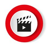 Video vector icon. Black icon on white background. Stock Images